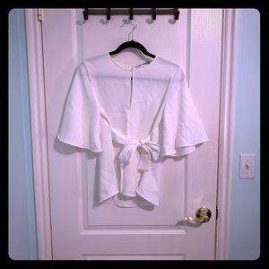Zara Tie Waist white blouse